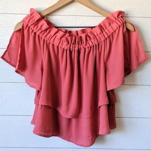Leith Pink Off The Shoulder Layer Blouse XS